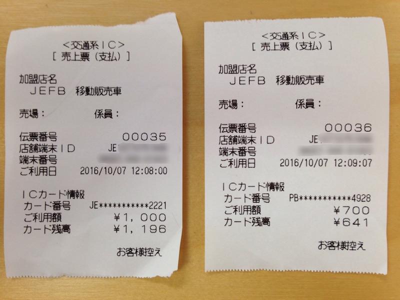 写真③ Suicaのレシート(売上票)