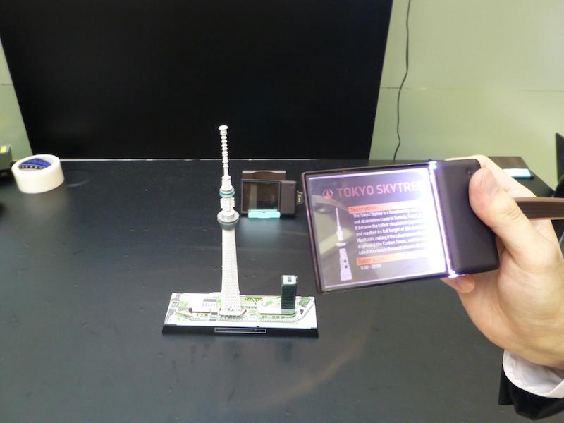 ▲対象物にかざすと詳細な説明を表示するデバイス。「おもてなし」を意識し、観光案内などへの応用を想定する。ほぼ透明のディスプレイはジャパンディスプレイが開発。