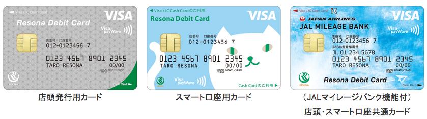 りそな デビットカードの券面デザイン(りそな銀行、埼玉りそなぎんこう、近畿大阪銀行の報道発表資料より)