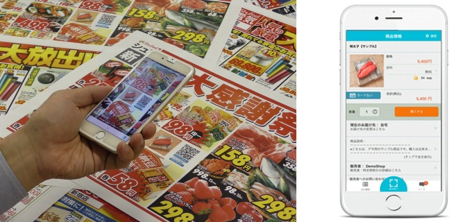 購入シーンのイメージ(左)と、QRコード読取後のイメージ(右)(出典:凸版印刷の報道発表資料より)