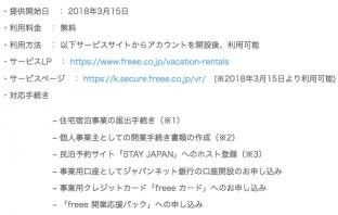 「民泊開業 freee」概要(出典:freeeの報道発表資料より)