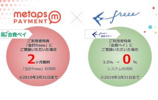 会費ペイ&会計freee連携記念キャンペーン概要(出典:メタップスペイメントの報道発表資料より)