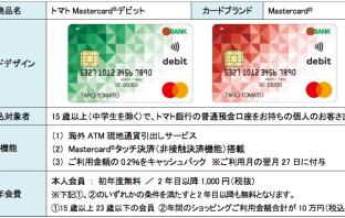 トマトMastercardデビットのカード概要(出典:オリエントコーポレーションの報道発表資料より)