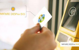MIFARE DESFire EV3 ICを搭載したカードで乗車券を購入する様子(出典:NXP Semiconductorsの報道発表資料より